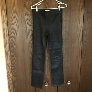 H&M Black Real Leather Pants